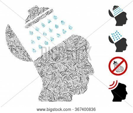 Line Mosaic Propaganda Brain Shower Icon Designed From Narrow Items In Various Sizes And Color Hues.