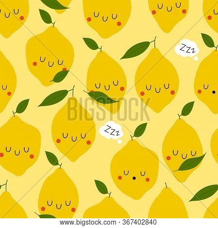 Kawaii Cartoon Sleeping Limon. Colored Seamless Vector Patterns In Flat Style. Isolated Pattern For