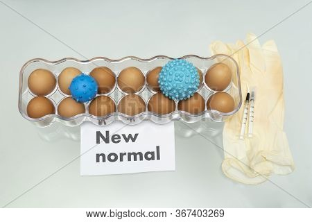 Incorrect Social Distance. Without Social Distance. Covid-19 Or Coronavirus. Word With Eggs In A Box