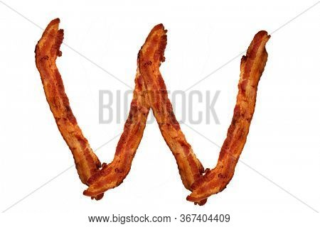 Bacon. Fried Bacon Alphabet. Bacon Letters Isolated on white. Letter W made from fried Pork Belly Strips. Alphabet. Easily copied and used in paste up or projects.
