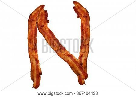 Bacon. Fried Bacon Alphabet. Bacon Letters Isolated on white. Letter N made from fried Pork Belly Strips. Alphabet. Easily copied and used in paste up or projects.