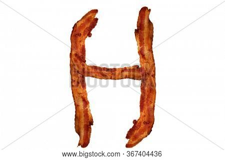 Bacon. Fried Bacon Alphabet. Bacon Letters Isolated on white. Letter H made from fried Pork Belly Strips. Alphabet. Easily copied and used in paste up or projects.