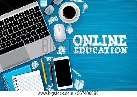Online Education E-learning Vector Banner. E-learning Online Education Text With School And Digital