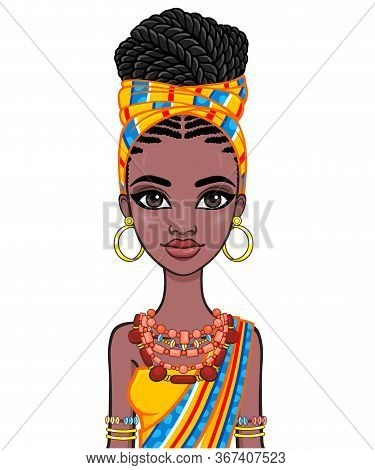 Animation Portrait Of A Young African Woman In A Orange Turban And Ethnic Jewelry. Template For Use.