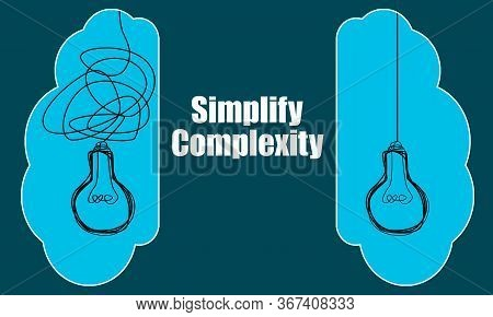 Simplify Complexity With Light Bulbs Idea Concept, 3d Rendering