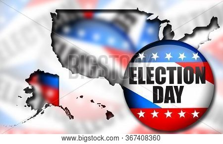 Election Pin Button For United States Elections. 3d Rendering