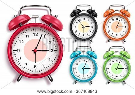 Alarm Clock Vector Set. 3d Realistic Analog Alarm Clocks In Various Colors With Glossy Looks In Fron