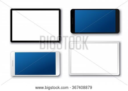 Tablet And Mobile Phone Vector Set. Mobile Phones And Touchscreen Tablet In 3d Realistic Look With W