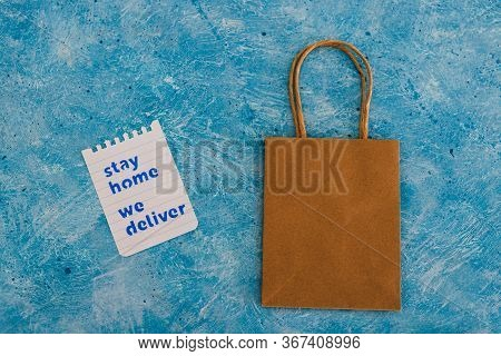 Takeaway Shopping Bags With Stay Home We Deliver Message
