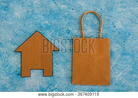 Helping Businesses During The Global Lockdown, Takeaway Shopping Bags With House Icon