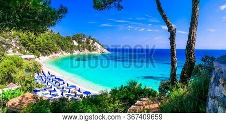 Best beaches of Greece with Blue flag awarded - Lemonakia with turquoise sea.  Samos island