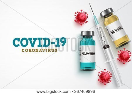 Covid-19 Coronavirus Vaccine Treatment Vector Background. Covid19 Vaccine Bottle, Syringe Injection