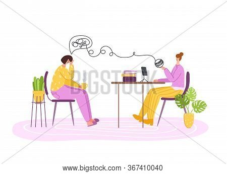 Psychological Services - Personal Support, Assistance In Cozy Office Or At Home. Upset Girl In Troub