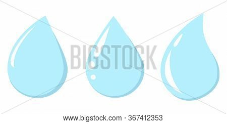 Blue Water Drop Icon. Vector Image Of Raindrop. Set Of Logos Droplets. Stock Template.