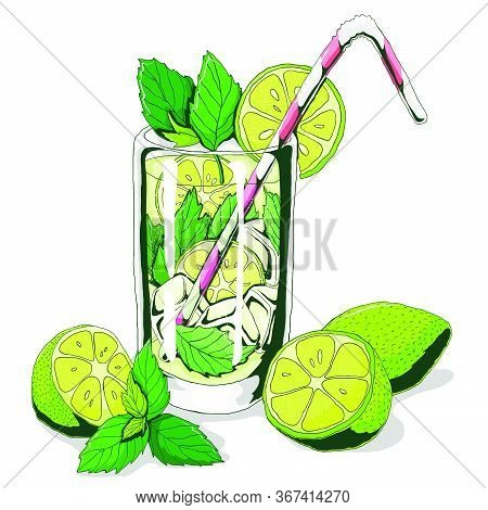 Mojito. Vector Hand Drawn Illustration Of Beach Cocktail. Cocktail With Lime And Mint. Vector Illust
