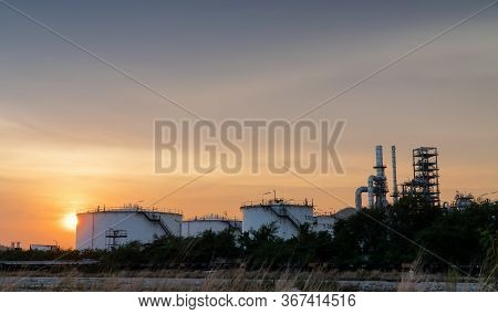 Oil Refinery Terminal Is Industrial Facility For Storage Of Oil Tank And Petrochemical. Oil Manufact