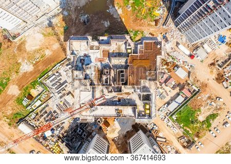 Large Residential Building Construction Site, Aerial Image.