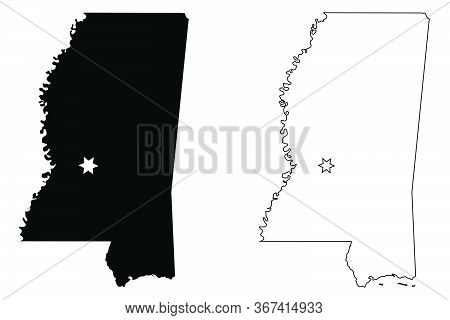 Mississippi Ms State Map Usa With Capital City Star At Jackson. Black Silhouette And Outline Isolate