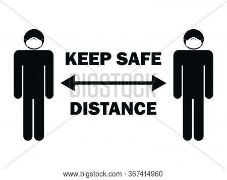 Keep Safe Distance Stick Figure With Mask. Illustration Arrow Depicting Social Distancing Guidelines