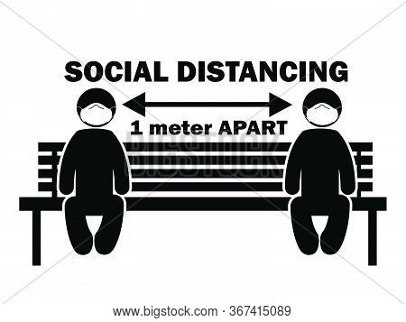 Social Distancing 1 Meter Apart Stick Figure With Mask On Bench. Illustration Arrow Depicting Social