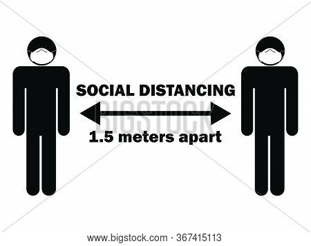 Social Distancing 1.5 Meters Apart Stick Figure With Mask. Illustration Arrow Depicting Social Dista