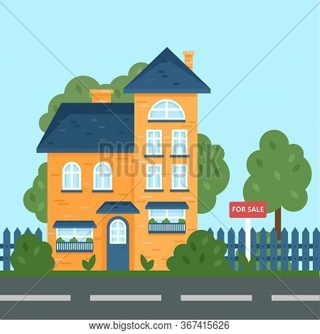 A House Along The Road. Part Of The Rural Landscape. Vector Illustration In Flat Style. House For Sa