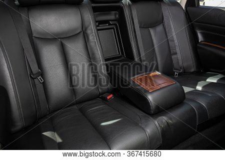 Novosibirsk/ Russia - May 03 2020: Nissan Teana,comfort Car Inside. Clean Car Interior: Black Back S