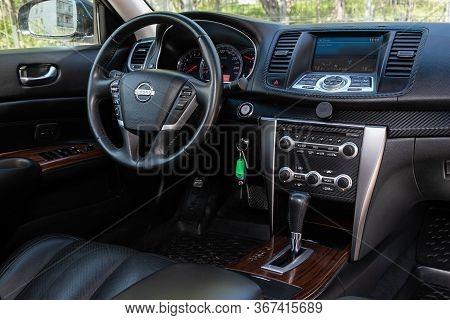 Novosibirsk/ Russia - May 03 2020: Nissan Teana,prestige Car Interior With Dashboard, Steering Wheel