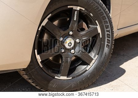 Novosibirsk/ Russia - May 03 2020: Hyundai Elantra,close-up Of The Alloy Wheel. Photography Of A Mod