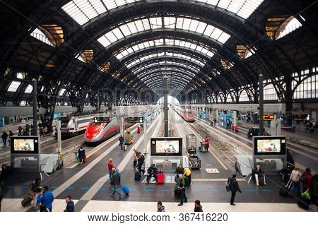 Milan. Italy - May 20, 2019: Milan Central Station Interior View. Modern High Speed Train at Railway of Station.