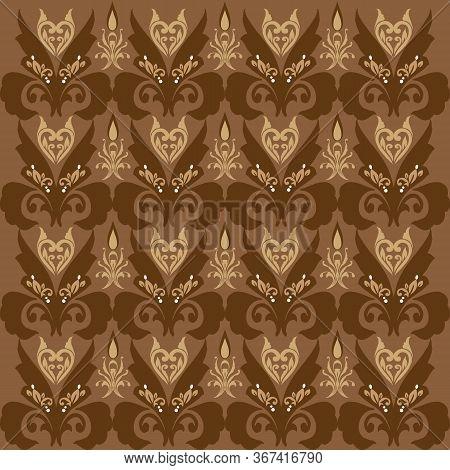 Seamless Motifs On Parang Batik Design With Elegant Brown Color Design