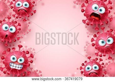 Corona Virus Covid-19 Vector Background Template. Corona Virus Covid19 Emojis And Emoticons With Ang