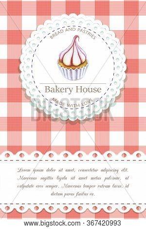 Bakery, Pastry Shop Label, Logo, Flyer Template With Cupcake Illustration, Lettering. Bakeshop Backg