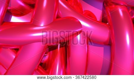 Abstract Background With Heap Or Hank Of Purple Balloons Or Chrome Pipes. 3d Illustration
