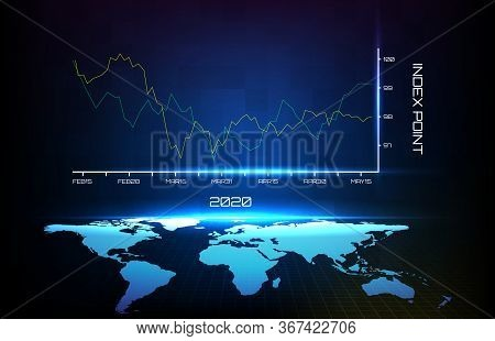Abstract Background Of Blue Average First Quarter In Year 2020 Graph And World Map
