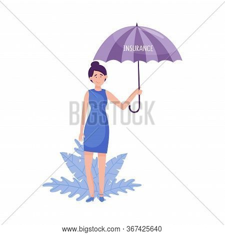 Young Woman Standing And Holding Umbrella With Floral Leaves Behind Her Vector Illustration