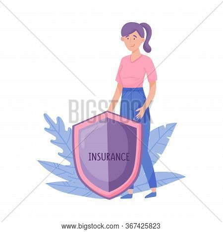 Smiling Young Woman Standing Behind The Shield Vector Illustration