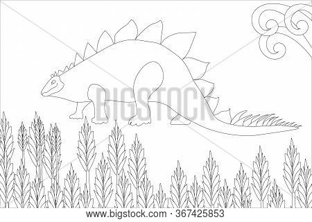 Cute Dinosaurs Coloring Book, Illustration. The Prehistoric Period. Jurassic Plants.