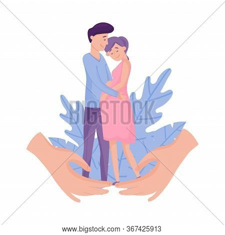Young Pregnant Woman Standing With Her Husband Embracing Her Vector Illustration
