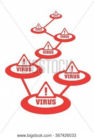 Attack Of The Computer Virus. Concept Of Spreading Of Computer Virus. Vector Illustration.