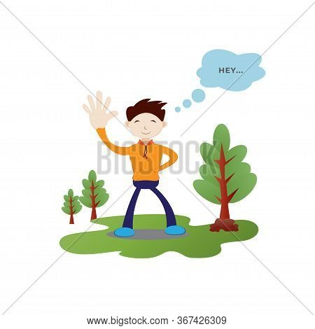 Flat Character Vector Illustration. Boy With Cute Face Expression. Say Hello, Say Hi Images.