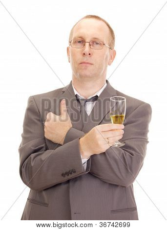 Business Person Drinking A Glass Of Champagne