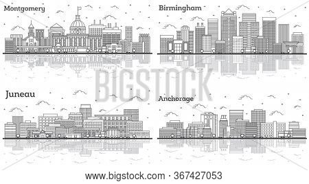 Outline Birmingham and Montgomery Alabama, Juneau and Anchorage Alaska City Skylines Set with Modern Buildings and Reflections Isolated on White. Cityscapes with Landmarks.