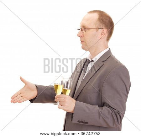 Business Person Drinking Champagne