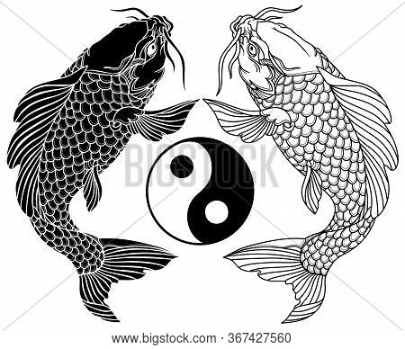 Two Koi Carp Fishes Vector Photo Free Trial Bigstock
