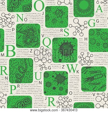 Vector Seamless Pattern On The Theme Of Bio Sciences, Medicine, Biology. A Repeating Background In T