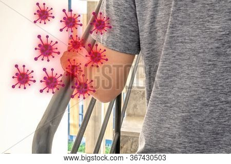 The Most Transmission Of Virus Or Bacteria From Hand Touch Concept, Covid-19 Or Coronavirus In The B