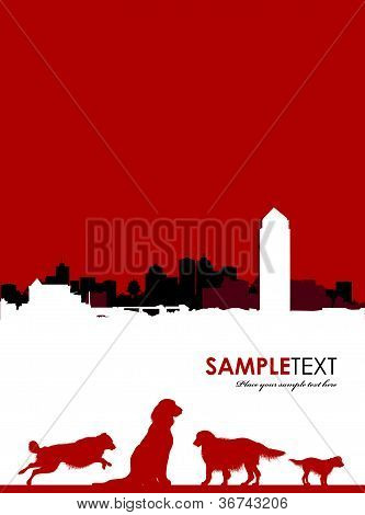 a dog silhouettes on a cityscape background poster