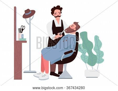Barbershop Flat Color Vector Characters. Man Cutting Beard. Male Stylist Trimming Facial Hair. Hipst