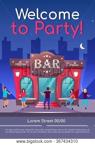 Welcome To Party Poster Flat Vector Template. Nightclub Event. Celebration In Pub At Night. Cafe Fac